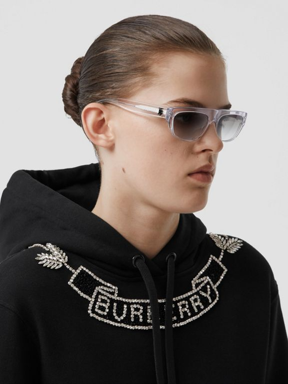 Embellished Cotton Oversized Hoodie in Black - Women | Burberry - cell image 1