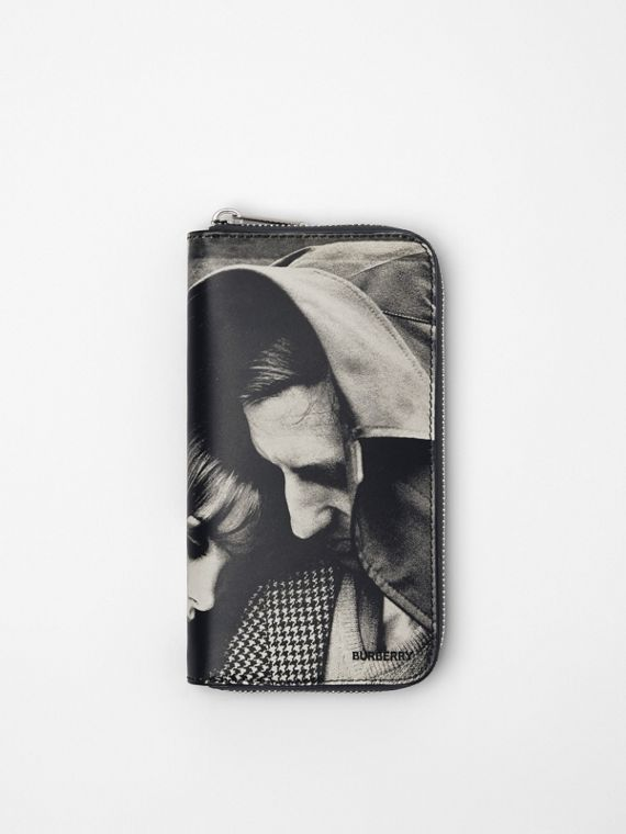 Archive Campaign Print Leather Ziparound Wallet in Black/white
