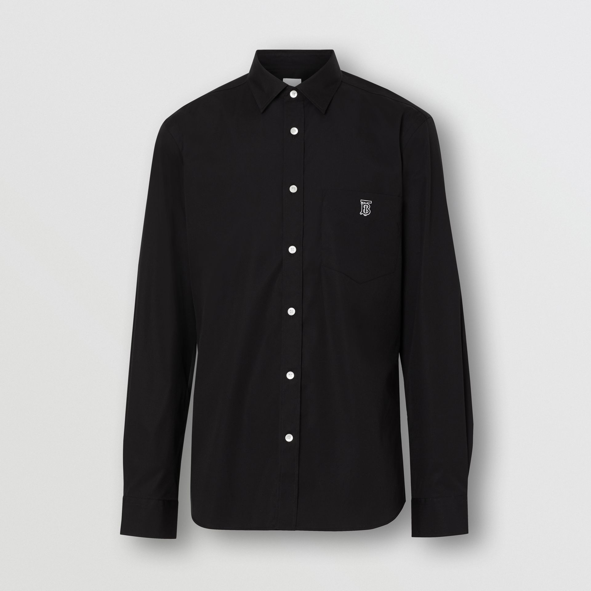 Monogram Motif Stretch Cotton Poplin Shirt in Black - Men | Burberry United Kingdom - gallery image 3