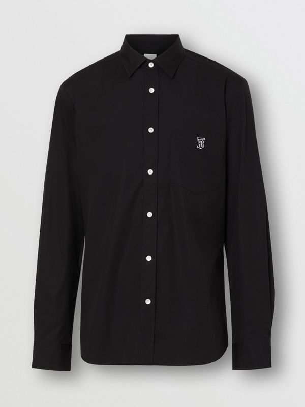 Monogram Motif Stretch Cotton Poplin Shirt in Black - Men | Burberry United Kingdom - cell image 3