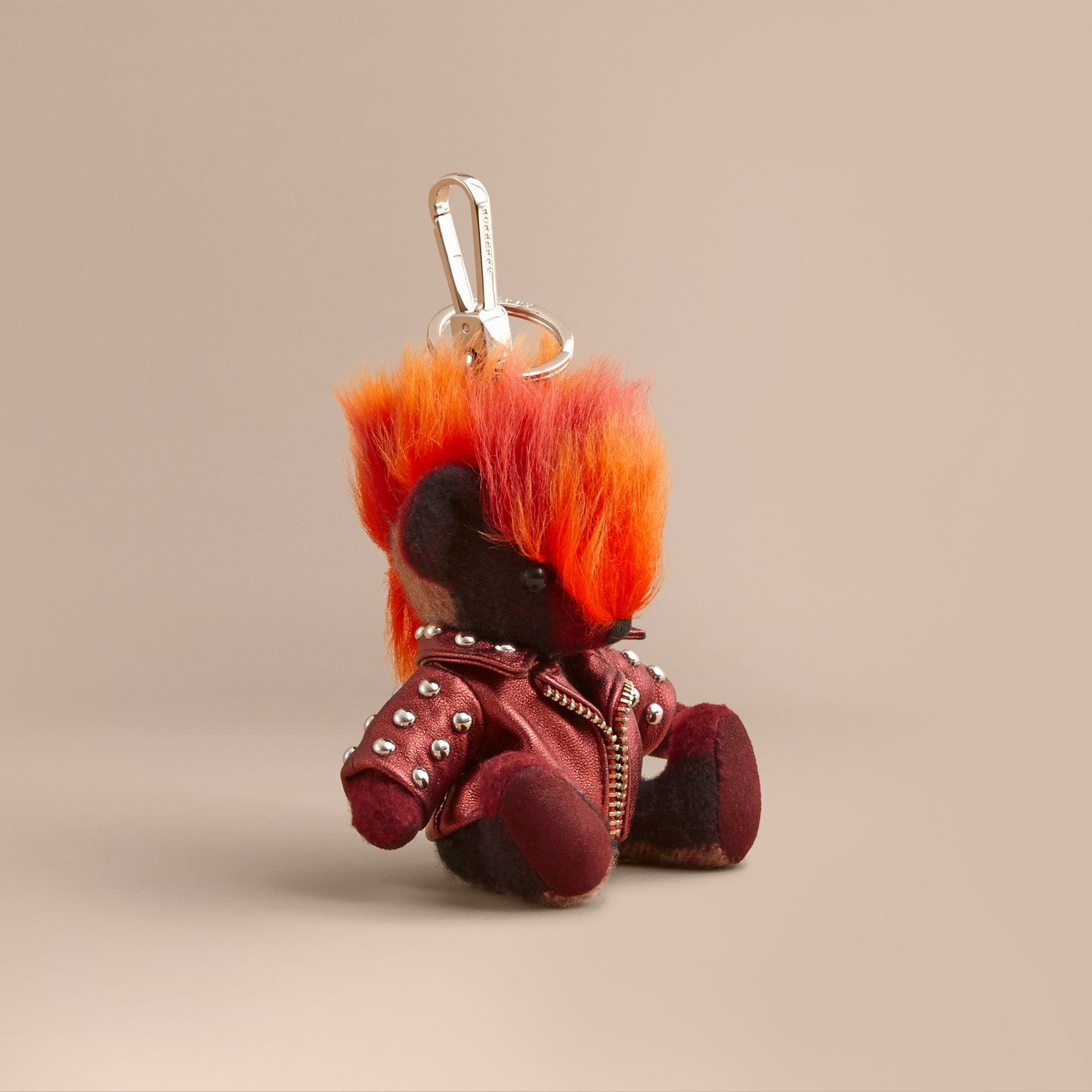 The Punk Thomas Bear Charm in Studded Lambskin Claret - gallery image 1
