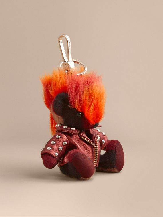 The Punk Thomas Bear Charm in Studded Lambskin Claret
