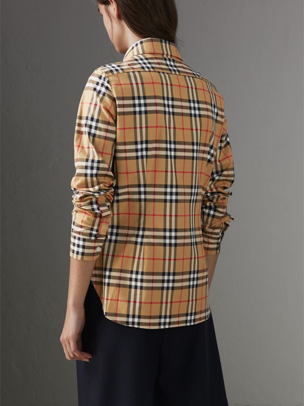Vintage Check Cotton Shirt in Antique Yellow - Women | Burberry United Kingdom - cell image 2