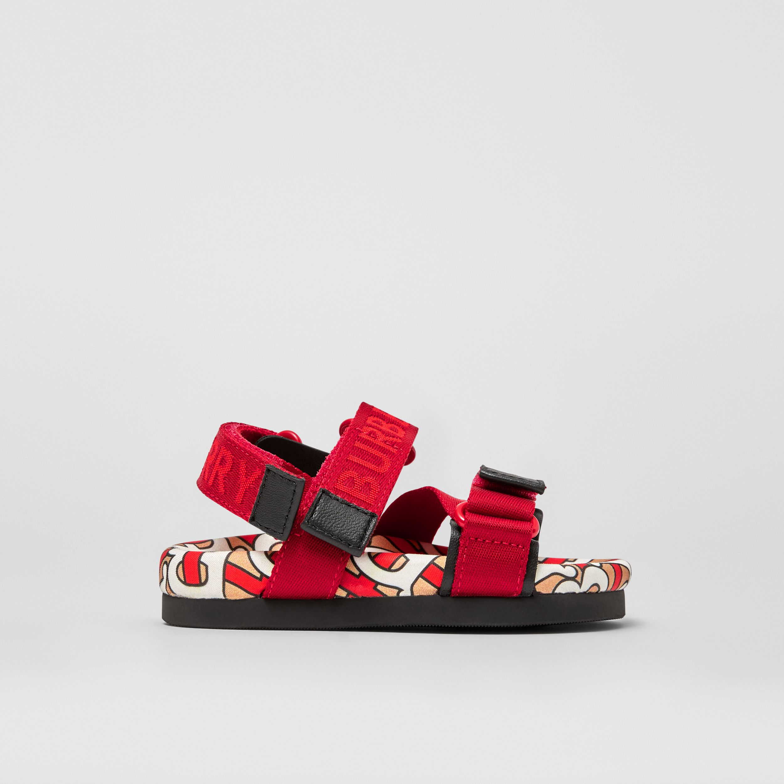 Monogram Print Cotton Gabardine Sandals in Bright Red - Children | Burberry - 4