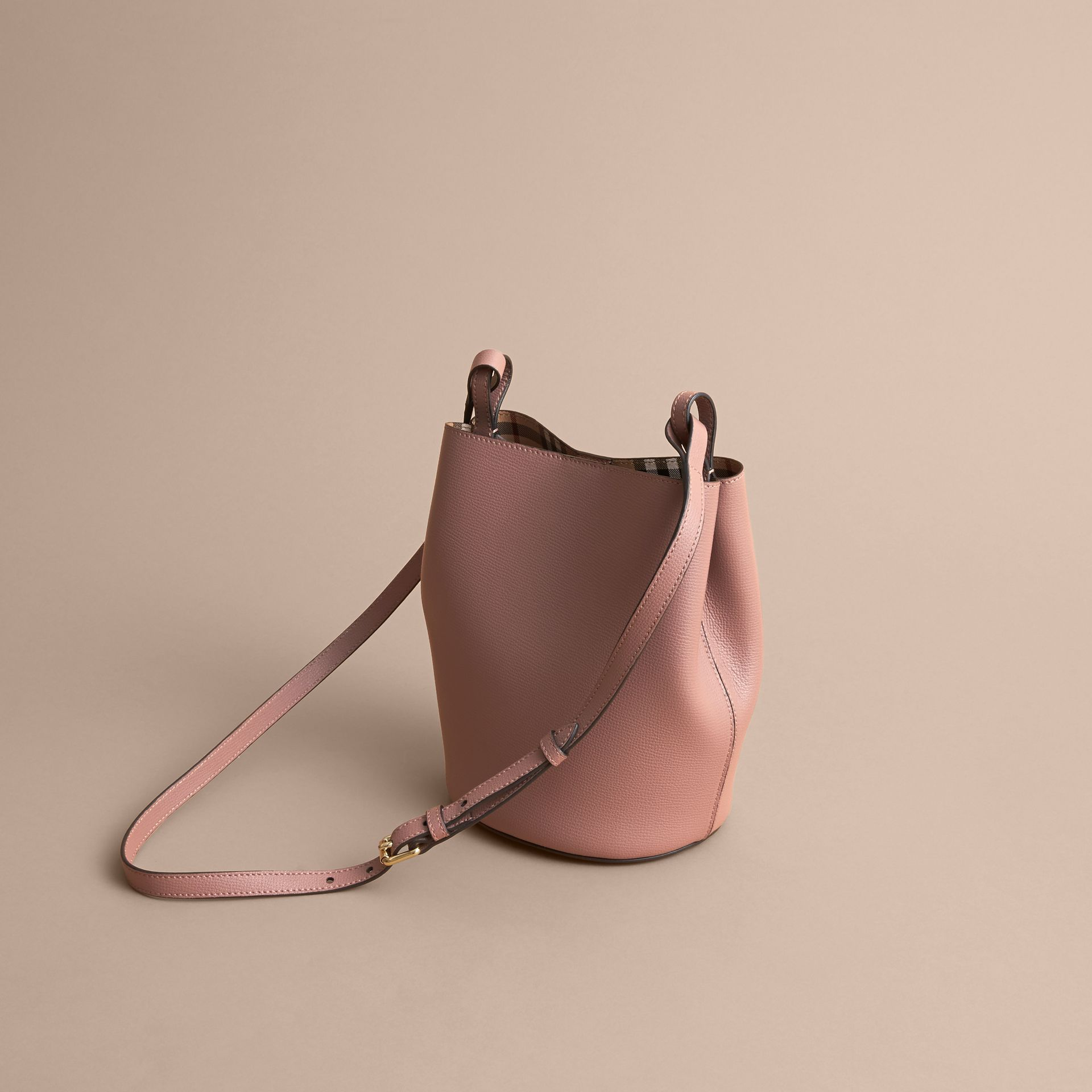 Leather and Haymarket Check Crossbody Bucket Bag in Light Elderberry - Women | Burberry Canada - gallery image 4