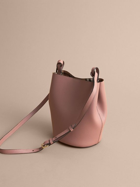 Leather and Haymarket Check Crossbody Bucket Bag in Light Elderberry - Women | Burberry Australia - cell image 3