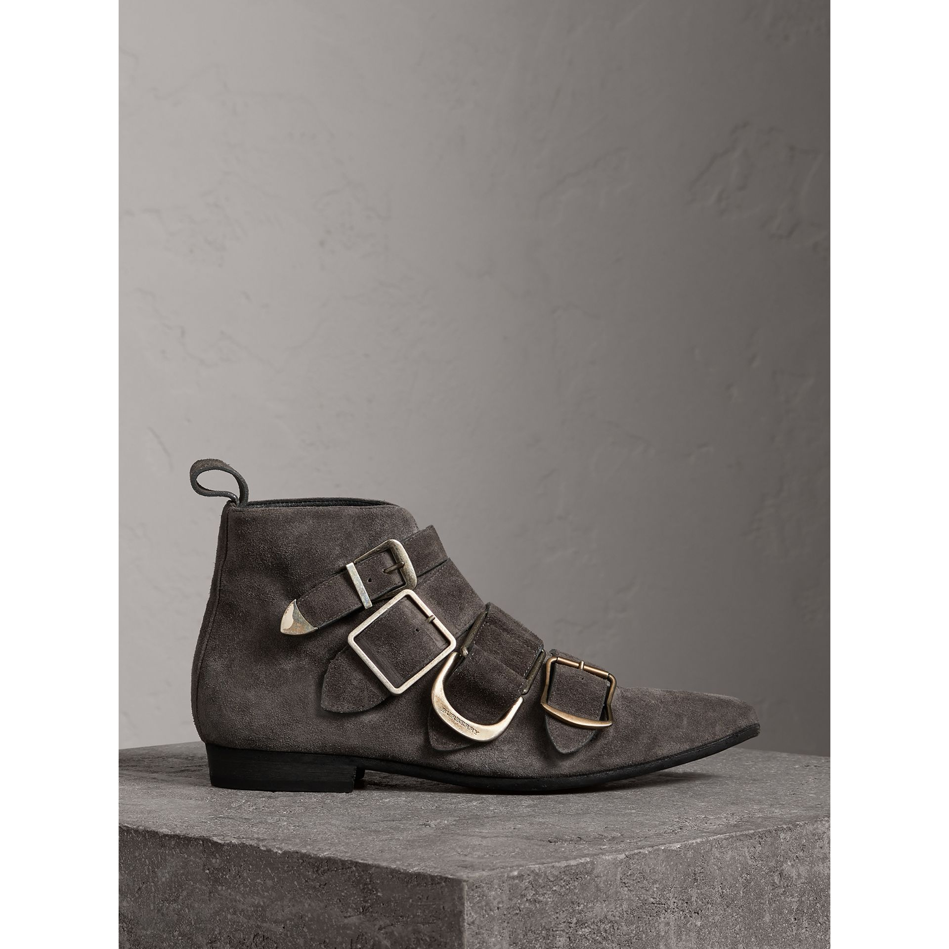 Buckle Detail Suede Ankle Boots in Dark Storm Grey - Women | Burberry United Kingdom - gallery image 0