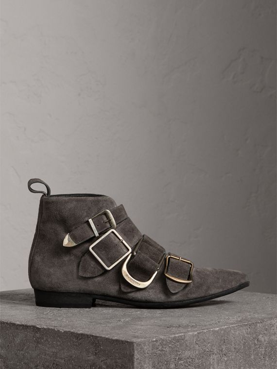 Buckle Detail Suede Ankle Boots in Dark Storm Grey