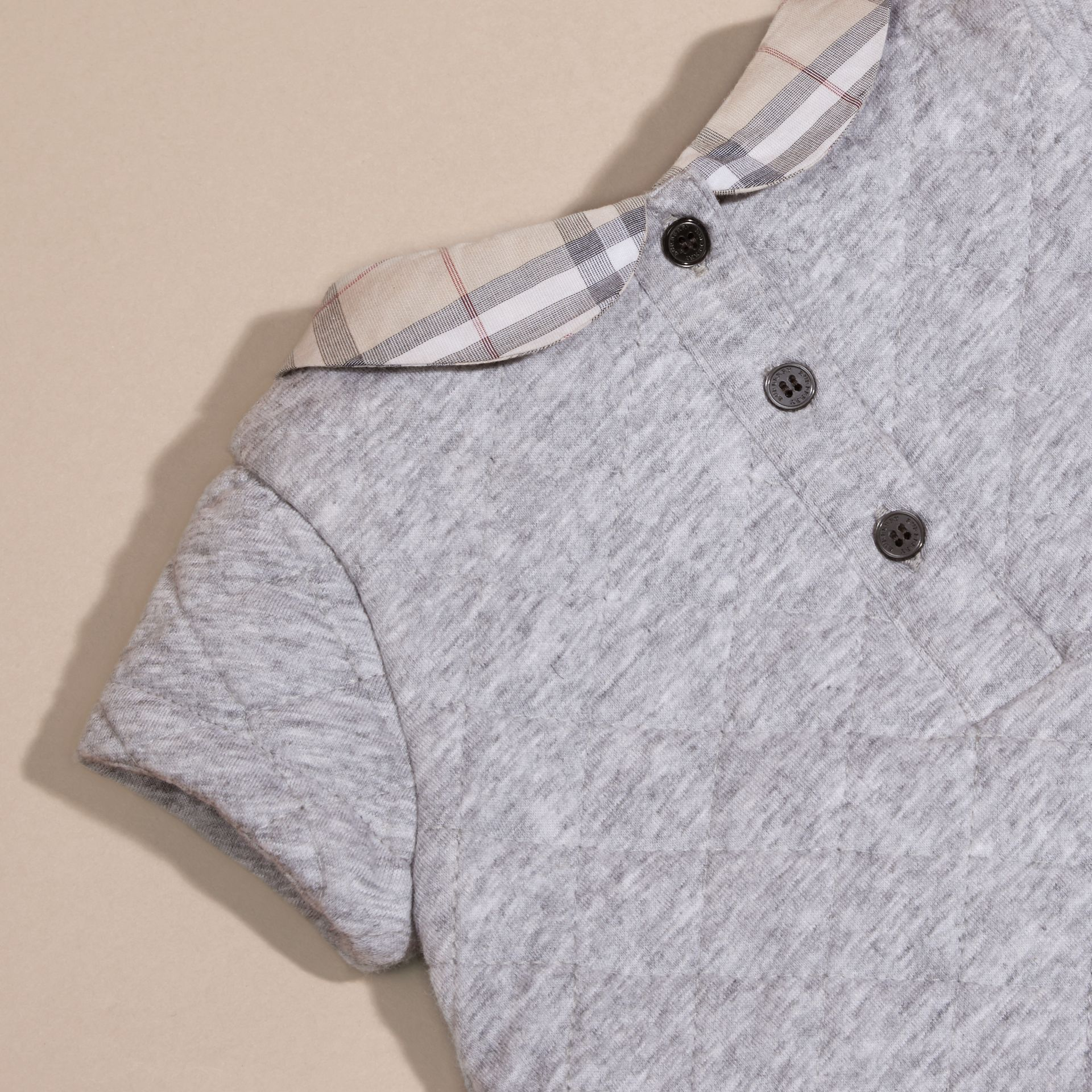 Grey melange Quilted Cotton Dress with Check Collar - gallery image 2