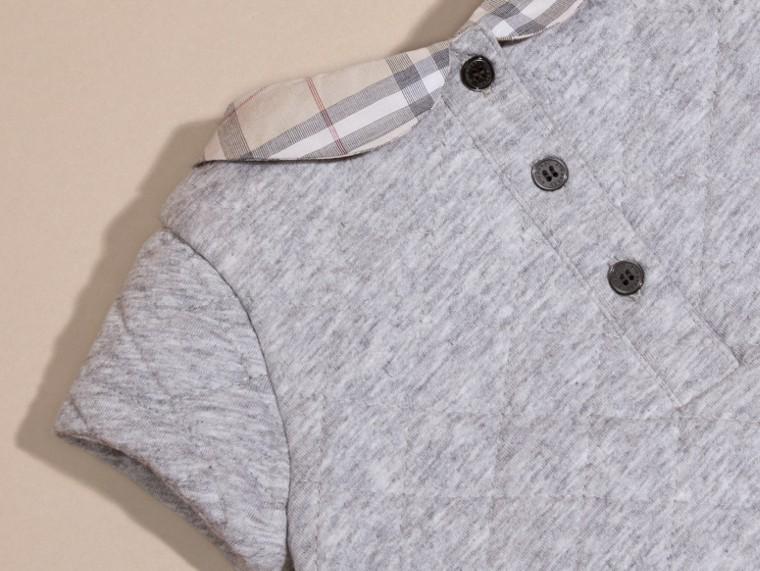 Grey melange Vestido de algodão acolchoado com colarinho xadrez - cell image 1
