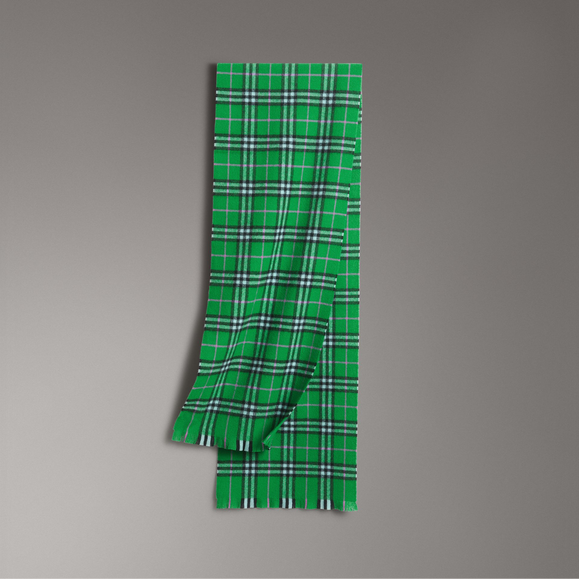 Check Cashmere Scarf in Bright Grass Green | Burberry United Kingdom - gallery image 0