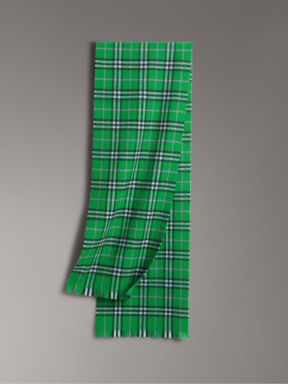 Check Cashmere Scarf in Bright Grass Green