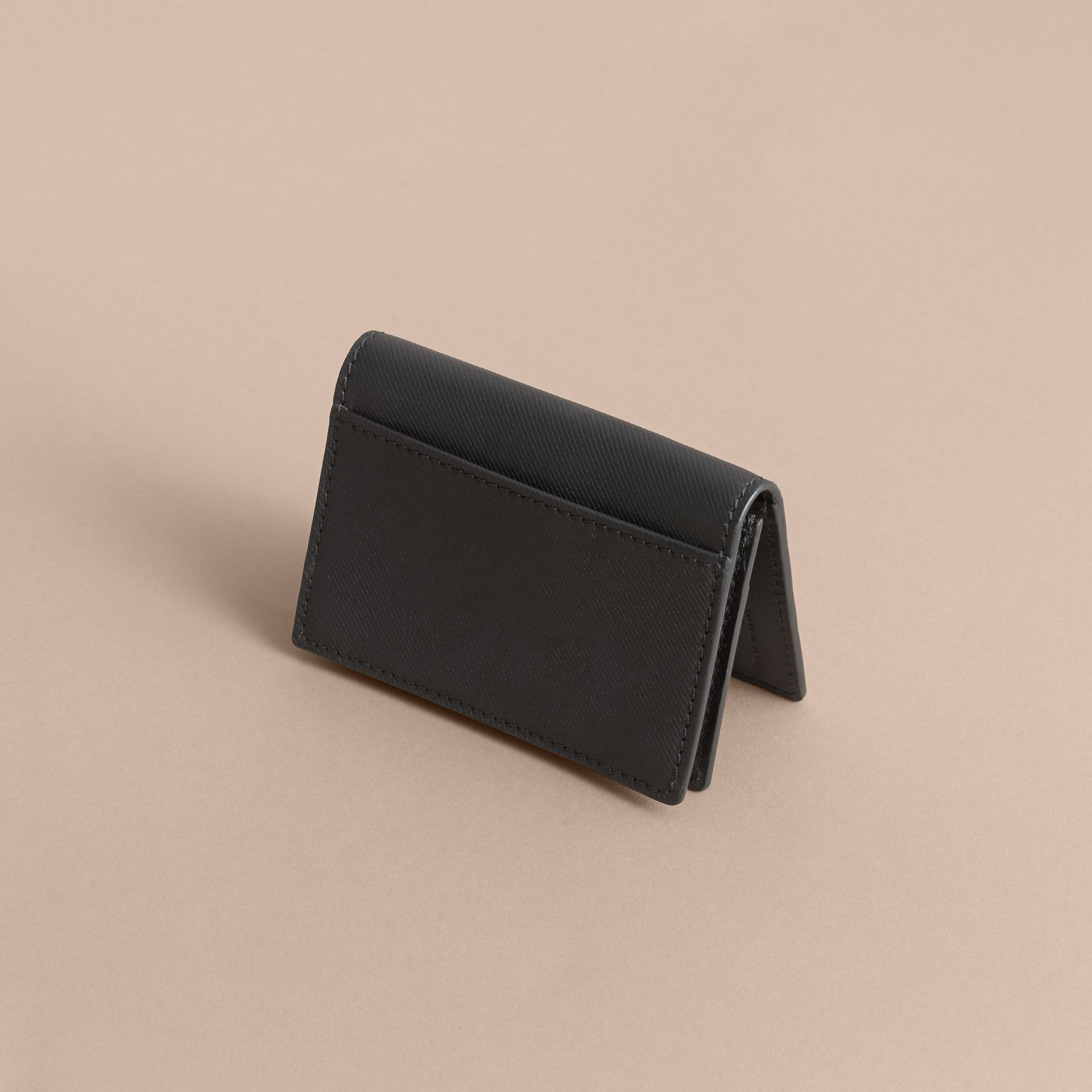 Trench Leather Folding Card Case in Black - Men | Burberry - gallery image 3