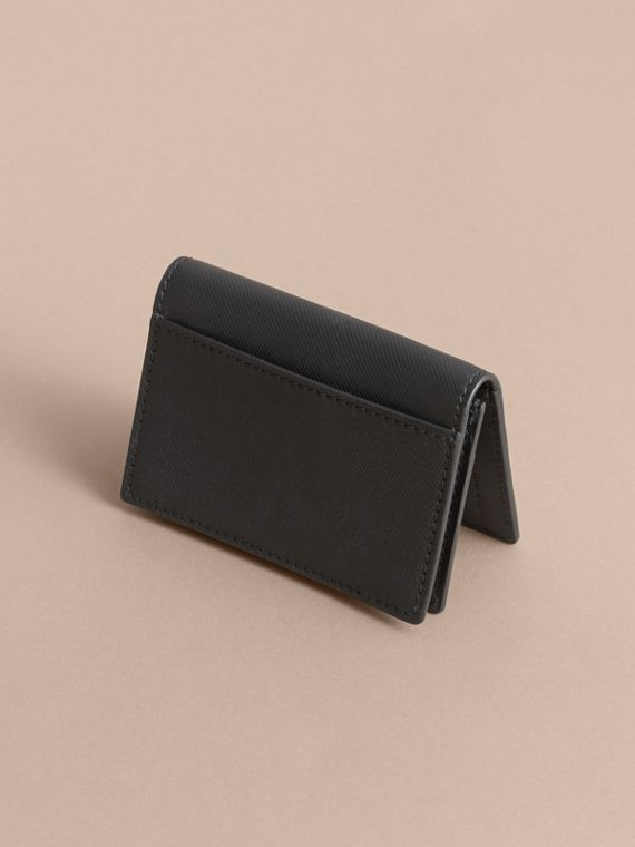 Trench Leather Folding Card Case in Black - cell image 2