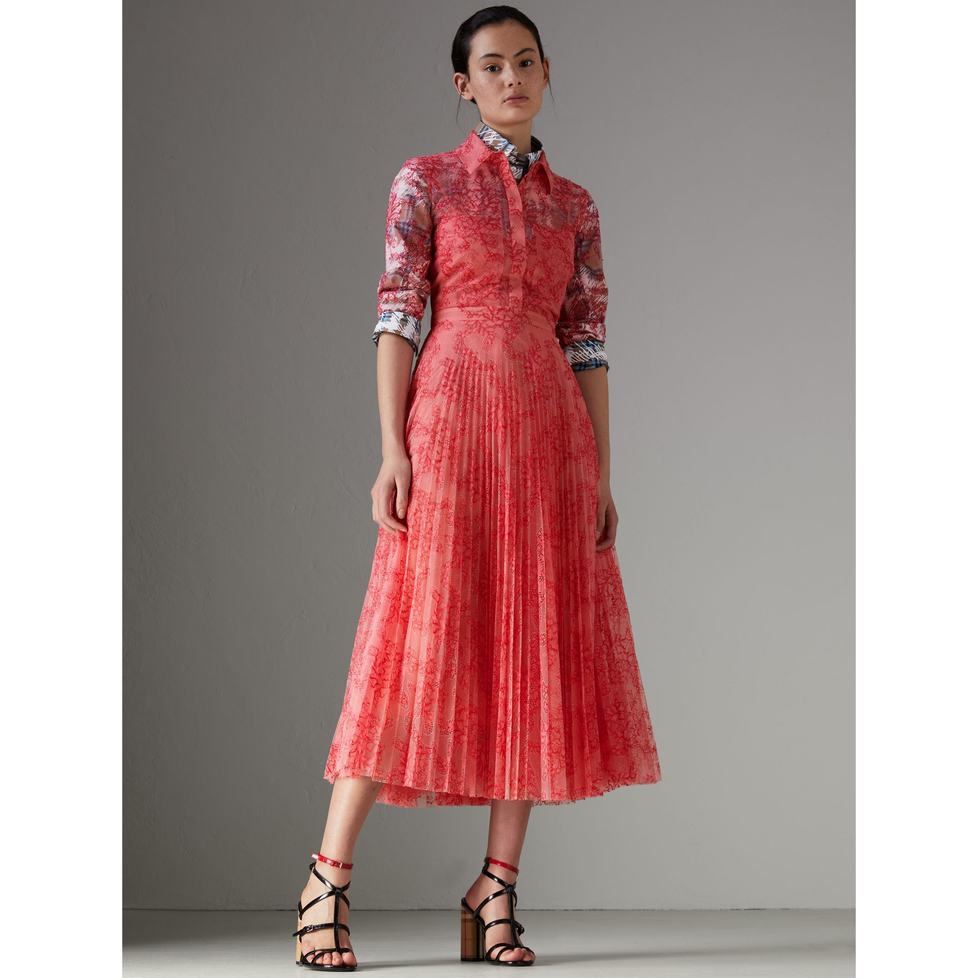 Pleated Lace Dress in Pale Apricot/coral - Women | Burberry Singapore - gallery image 0