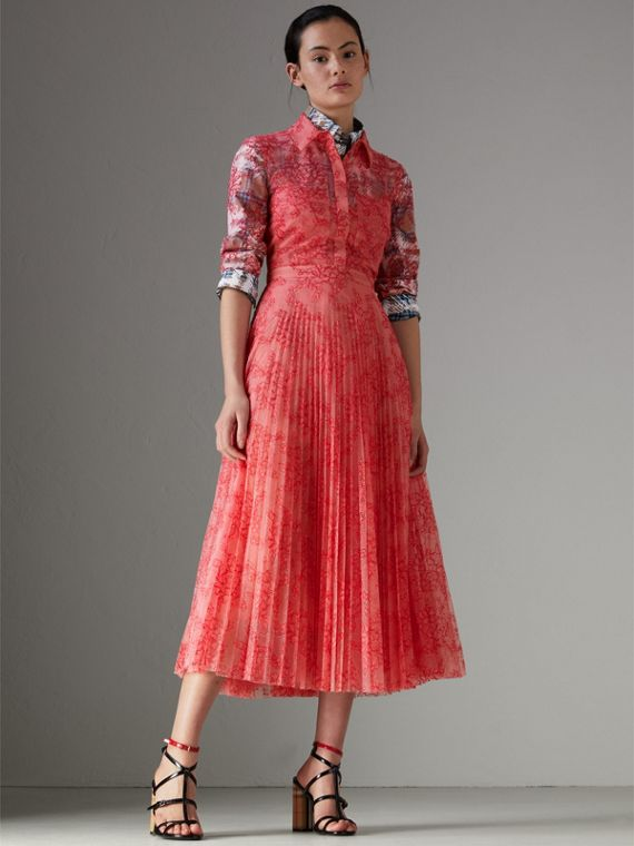 Pleated Lace Dress in Pale Apricot/coral