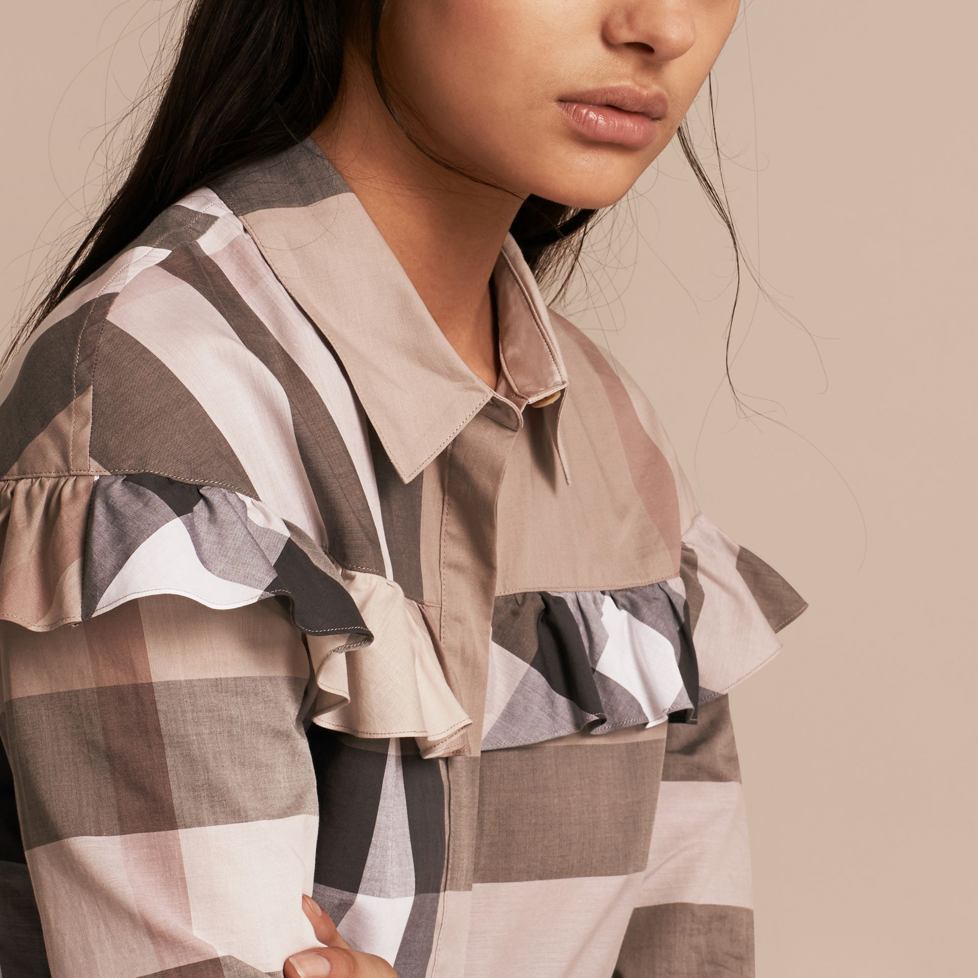Pale stone Check Cotton Frill Detail Shirt Pale Stone - gallery image 5