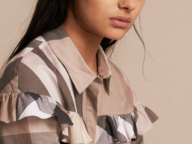 Pale stone Check Cotton Frill Detail Shirt Pale Stone - cell image 4