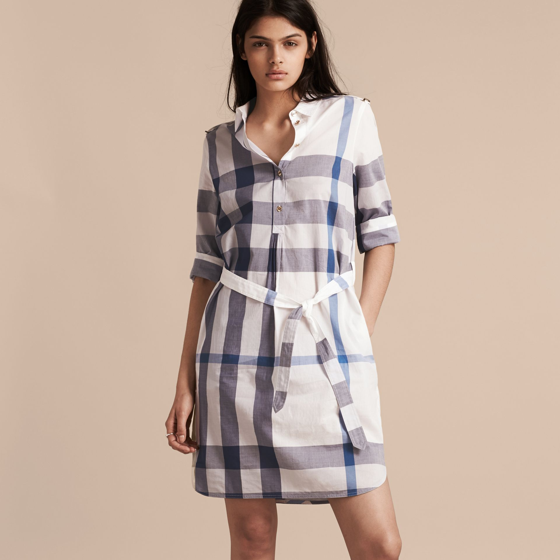 Ink blue Check Cotton Shirt Dress Ink Blue - gallery image 6