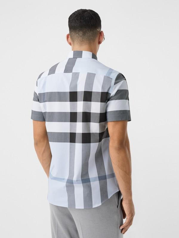 Short-sleeve Check Stretch Cotton Poplin Shirt in Chalk Blue - Men | Burberry Hong Kong S.A.R - cell image 2