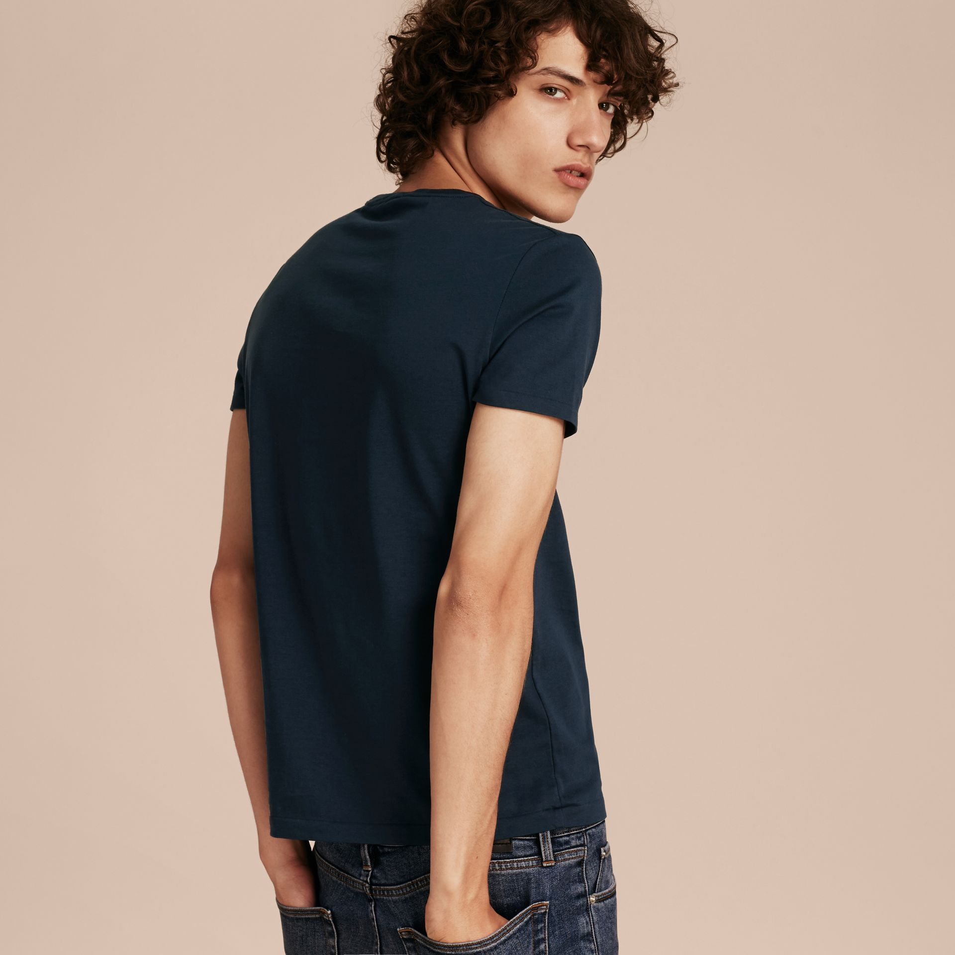 Cotton Jersey T-shirt in Navy - gallery image 3