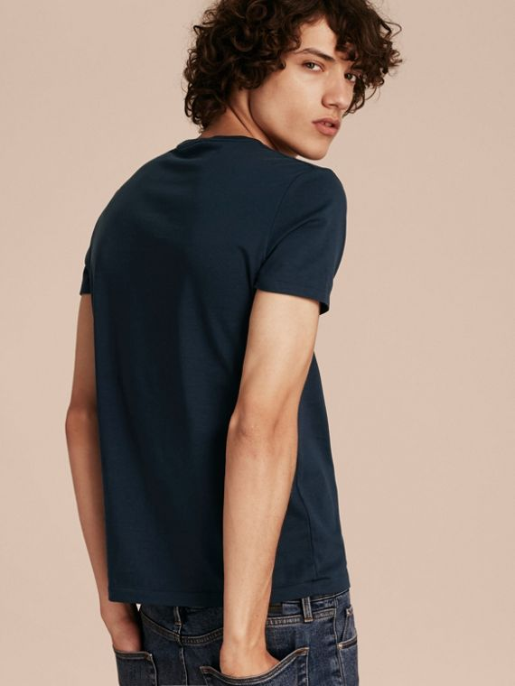 Navy T-shirt in cotone morbidissimo Navy - cell image 2