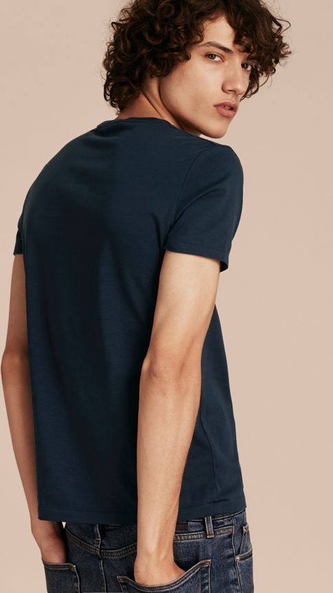 Navy Liquid-soft Cotton T-Shirt Navy - Image 3