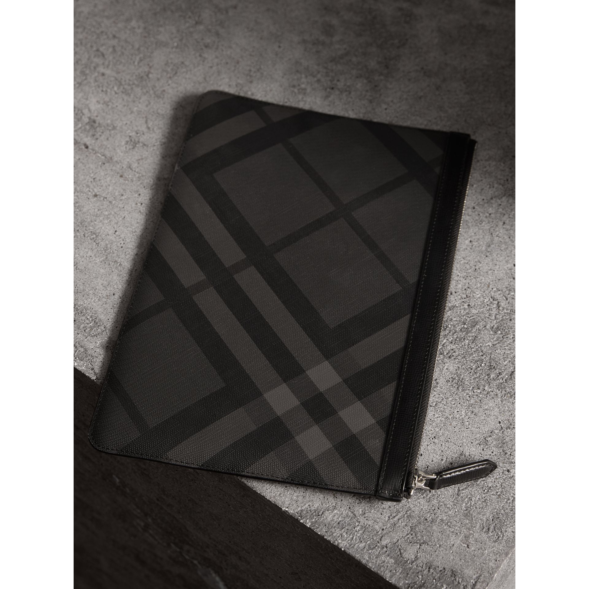 Zipped London Check Pouch in Charcoal/black - Men | Burberry - gallery image 4