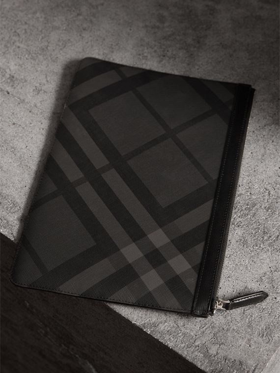 Zipped London Check Pouch in Charcoal/black - Men | Burberry - cell image 2