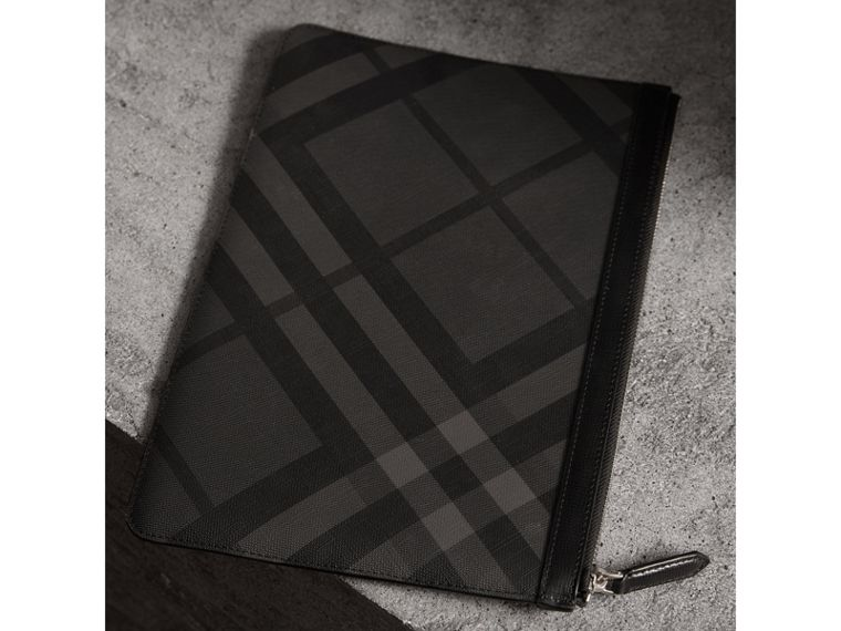 Zipped London Check Pouch in Charcoal/black - Men | Burberry - cell image 4