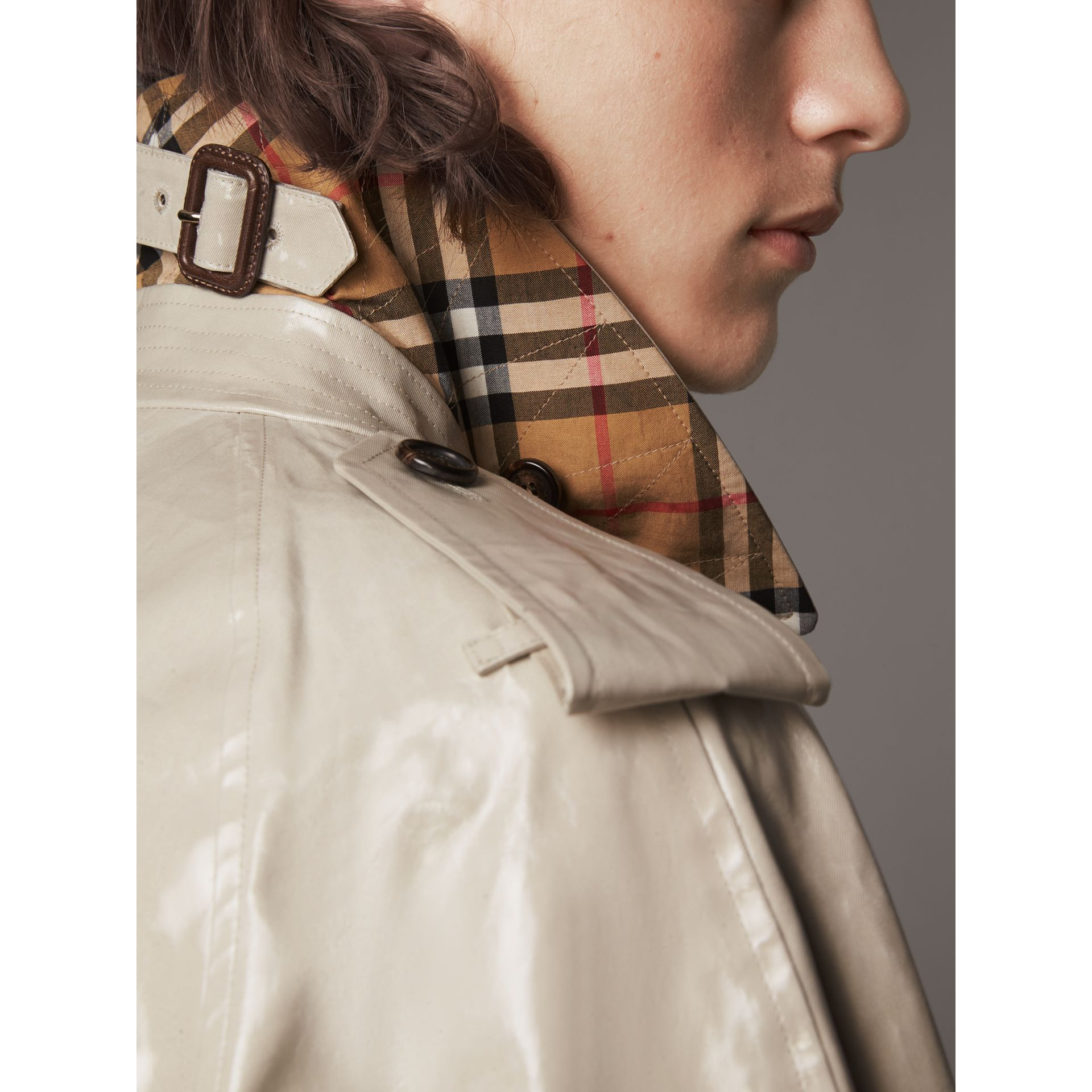 Laminated Cotton Gabardine Trench Coat in Stone - Men | Burberry - gallery image 4