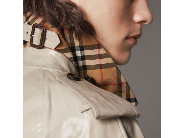 Laminated Cotton Gabardine Trench Coat in Stone - Men | Burberry - cell image 4