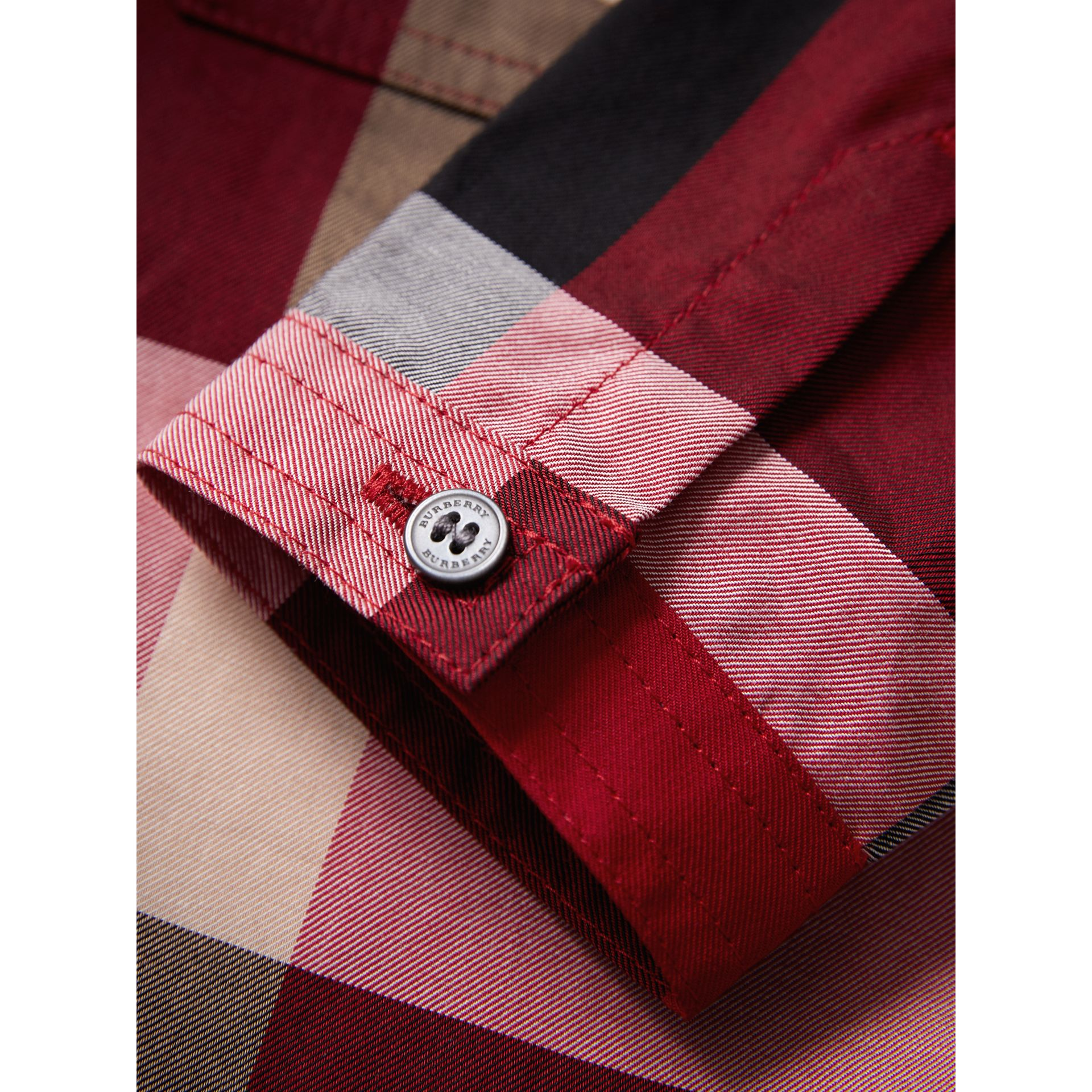 Check Cotton Shirt in Parade Red | Burberry - gallery image 1