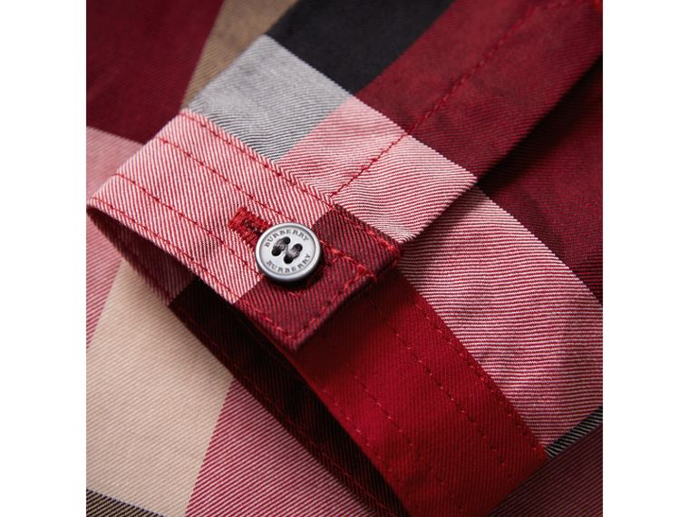 Check Cotton Shirt in Parade Red | Burberry - cell image 1