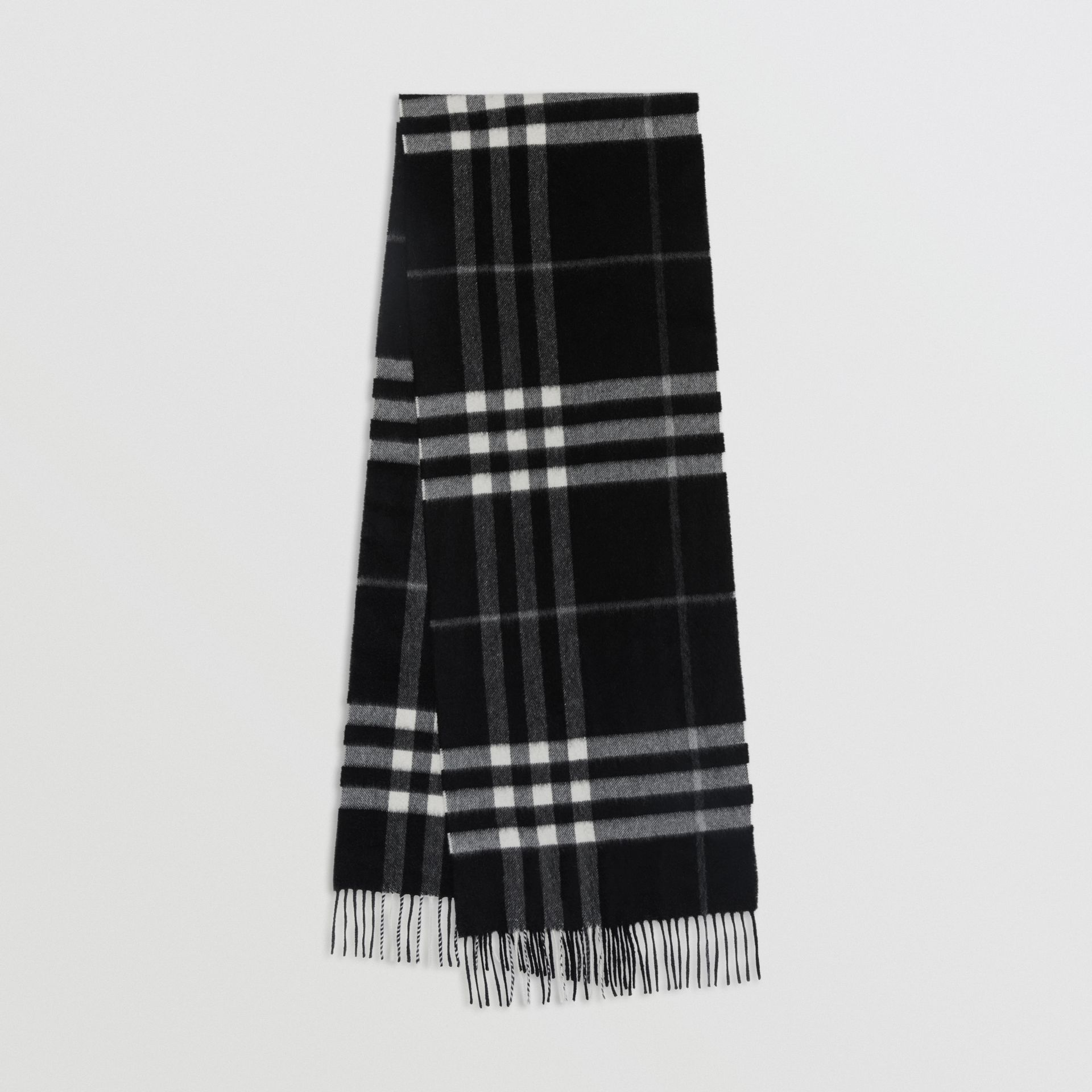The Classic Check Cashmere Scarf in Black | Burberry Singapore - gallery image 0