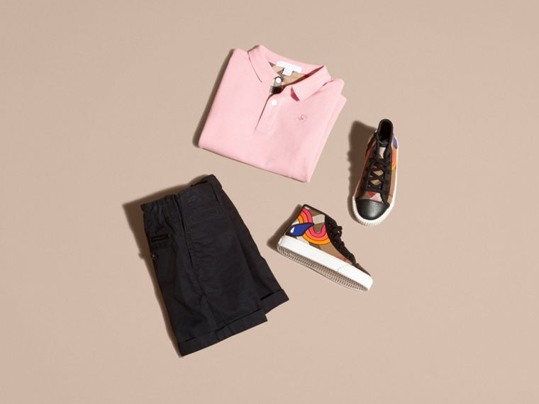 Check Placket Polo Shirt in Light Pink - Boy | Burberry - cell image 4