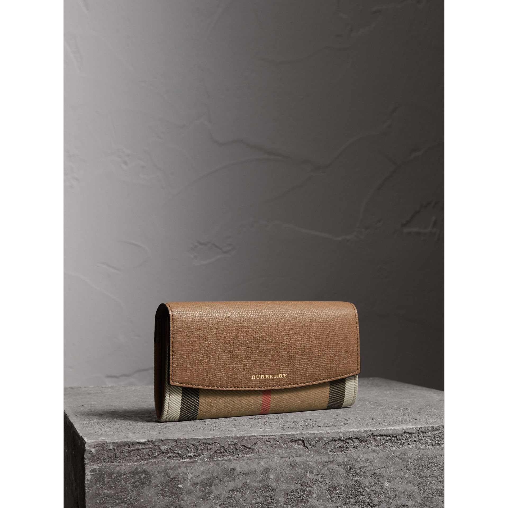 House Check And Leather Continental Wallet in Dark Sand - Women | Burberry Canada - gallery image 1