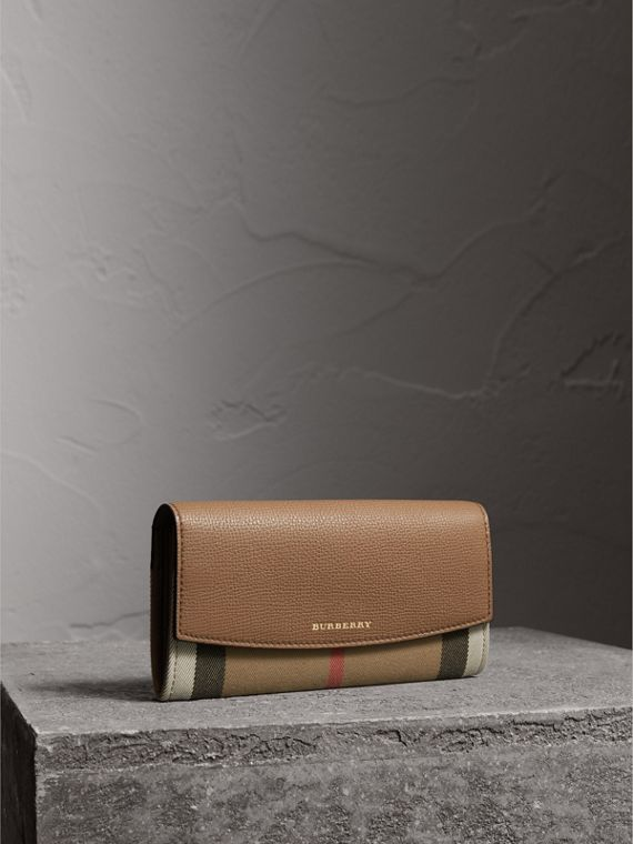 House Check And Leather Continental Wallet in Dark Sand - Women | Burberry