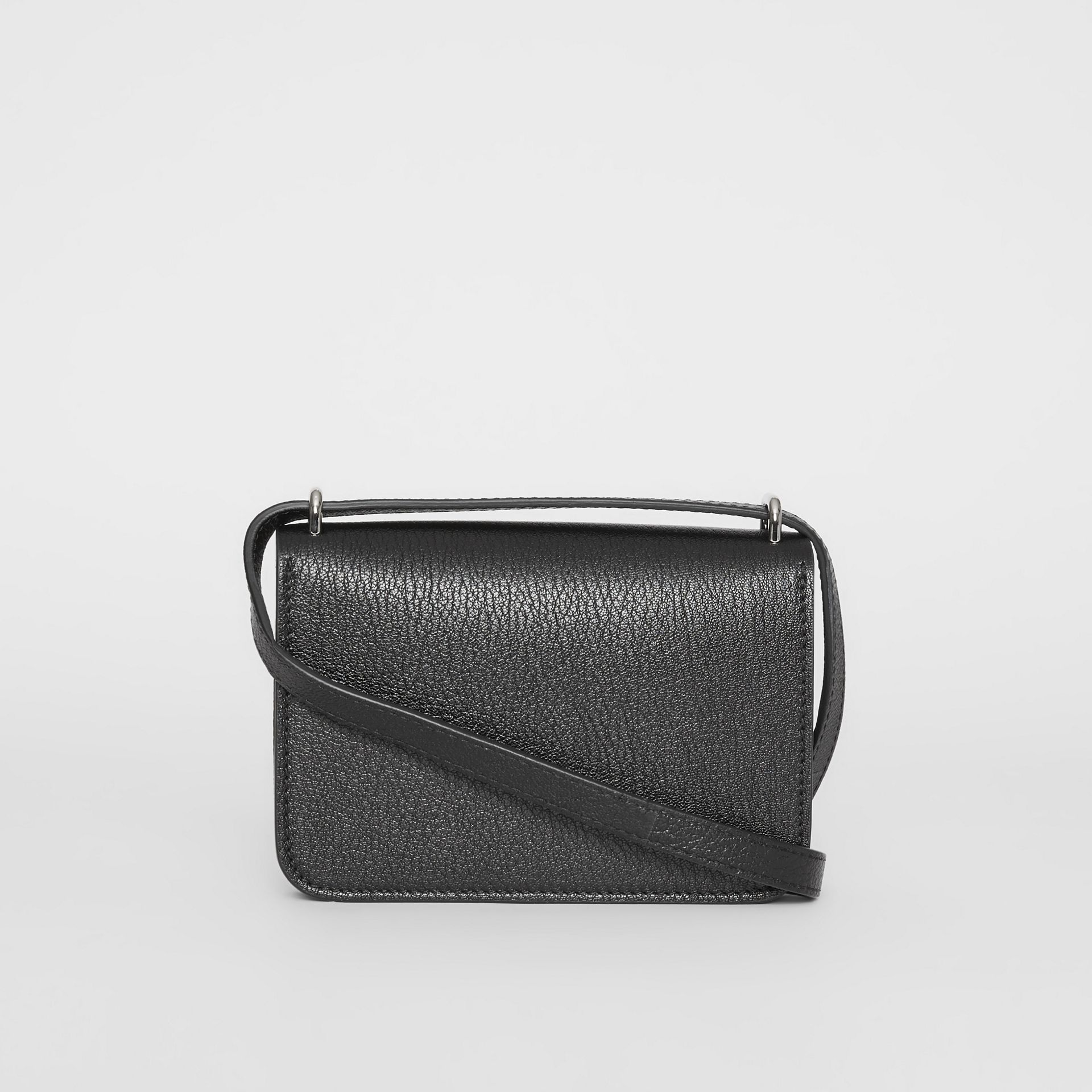 The Mini Vintage Check and Leather D-ring Bag in Black - Women | Burberry - gallery image 7