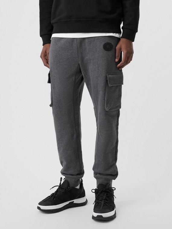 Pocket Detail Cotton Jersey Trackpants in Mid Grey Melange