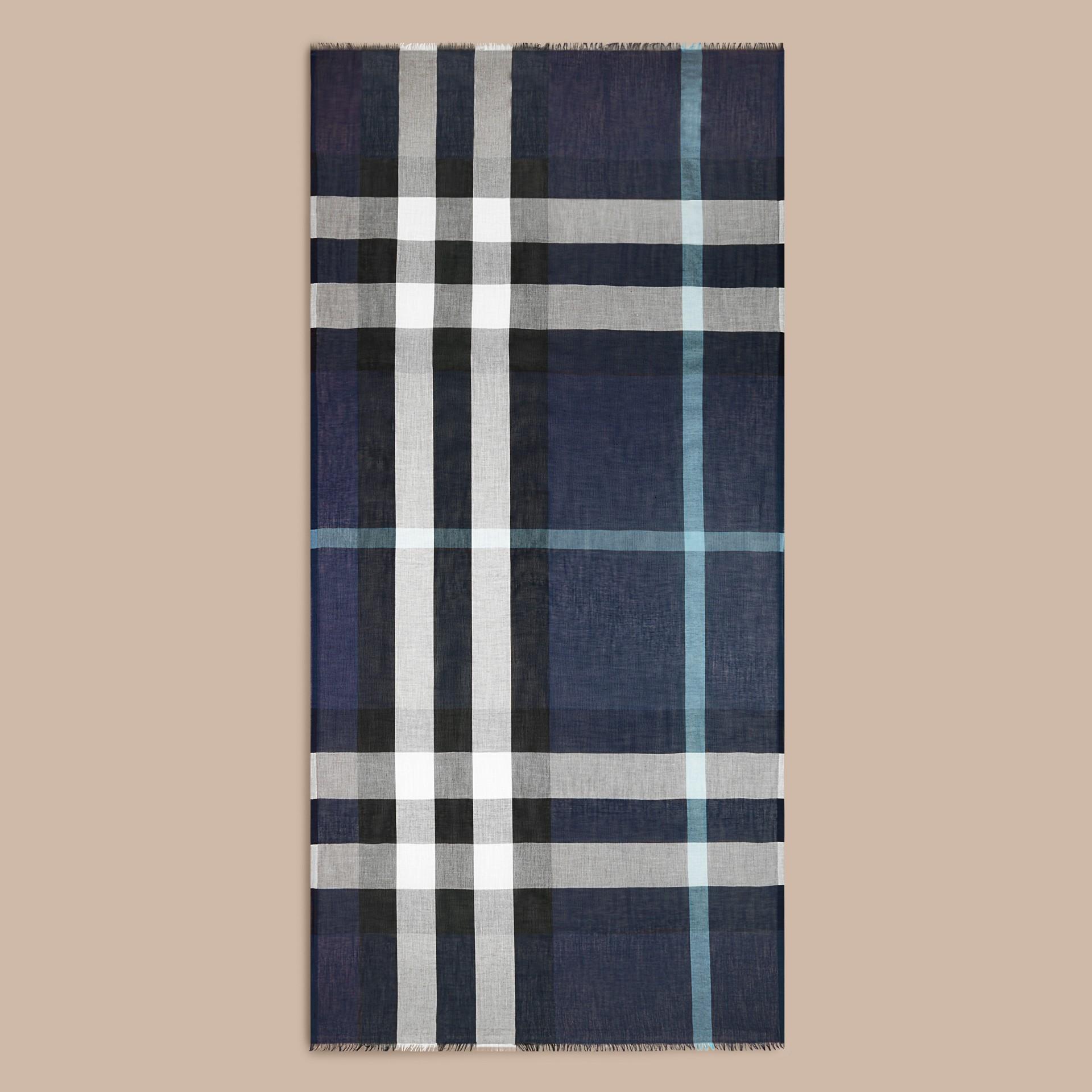 Indigo blue Check Modal Cashmere and Silk Scarf Indigo Blue - gallery image 4