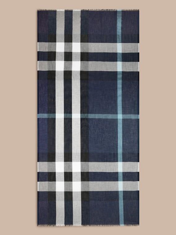 Indigo blue Check Modal Cashmere and Silk Scarf Indigo Blue - cell image 3