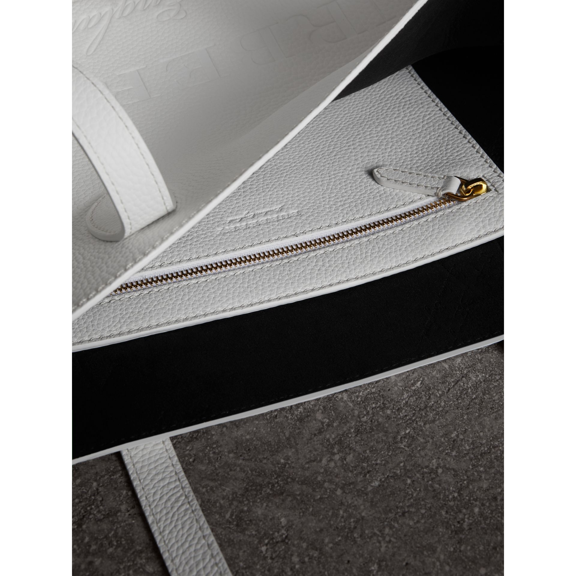 Medium Embossed Leather Tote in Chalk White | Burberry United States - gallery image 3