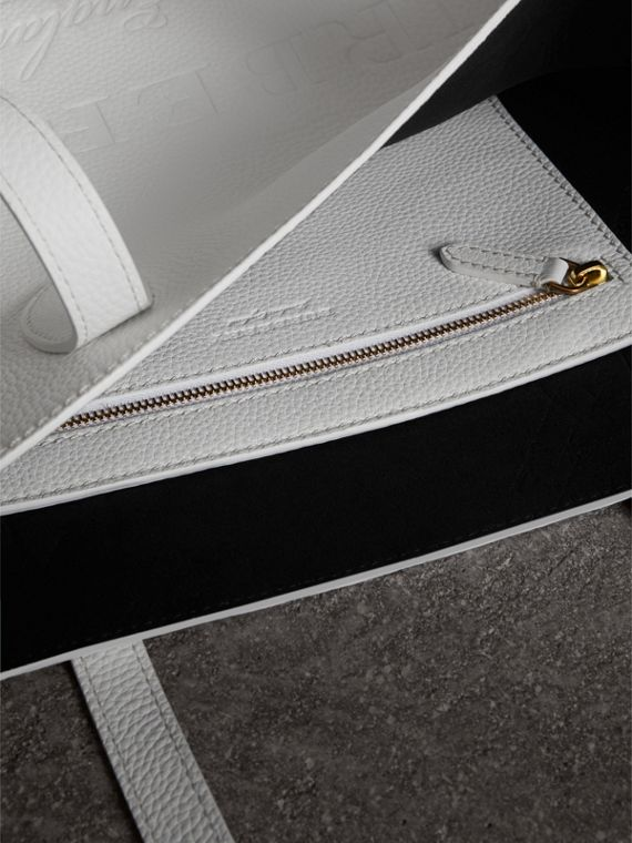 Medium Embossed Leather Tote in Chalk White | Burberry - cell image 3