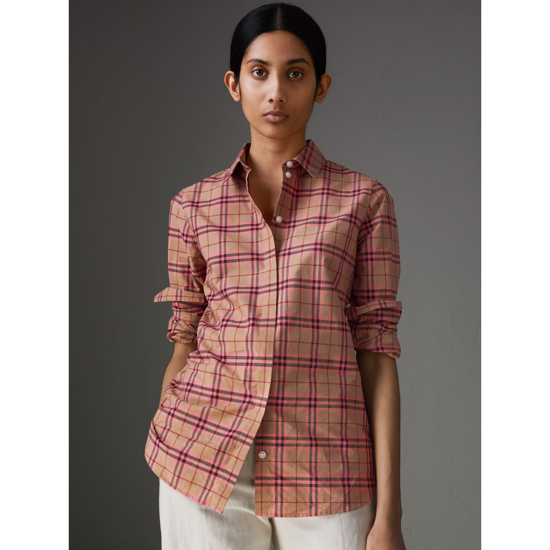 Check Cotton Shirt in Pomegranate Pink - Women | Burberry - gallery image 4