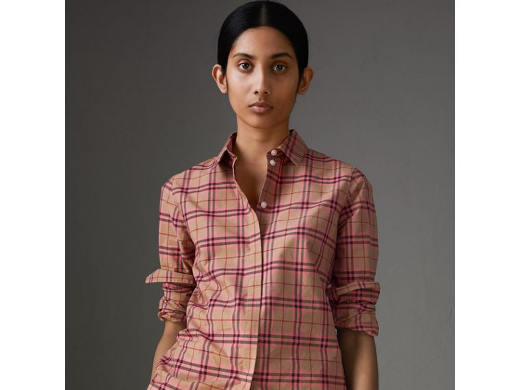 Check Cotton Shirt in Pomegranate Pink - Women | Burberry Australia - cell image 4