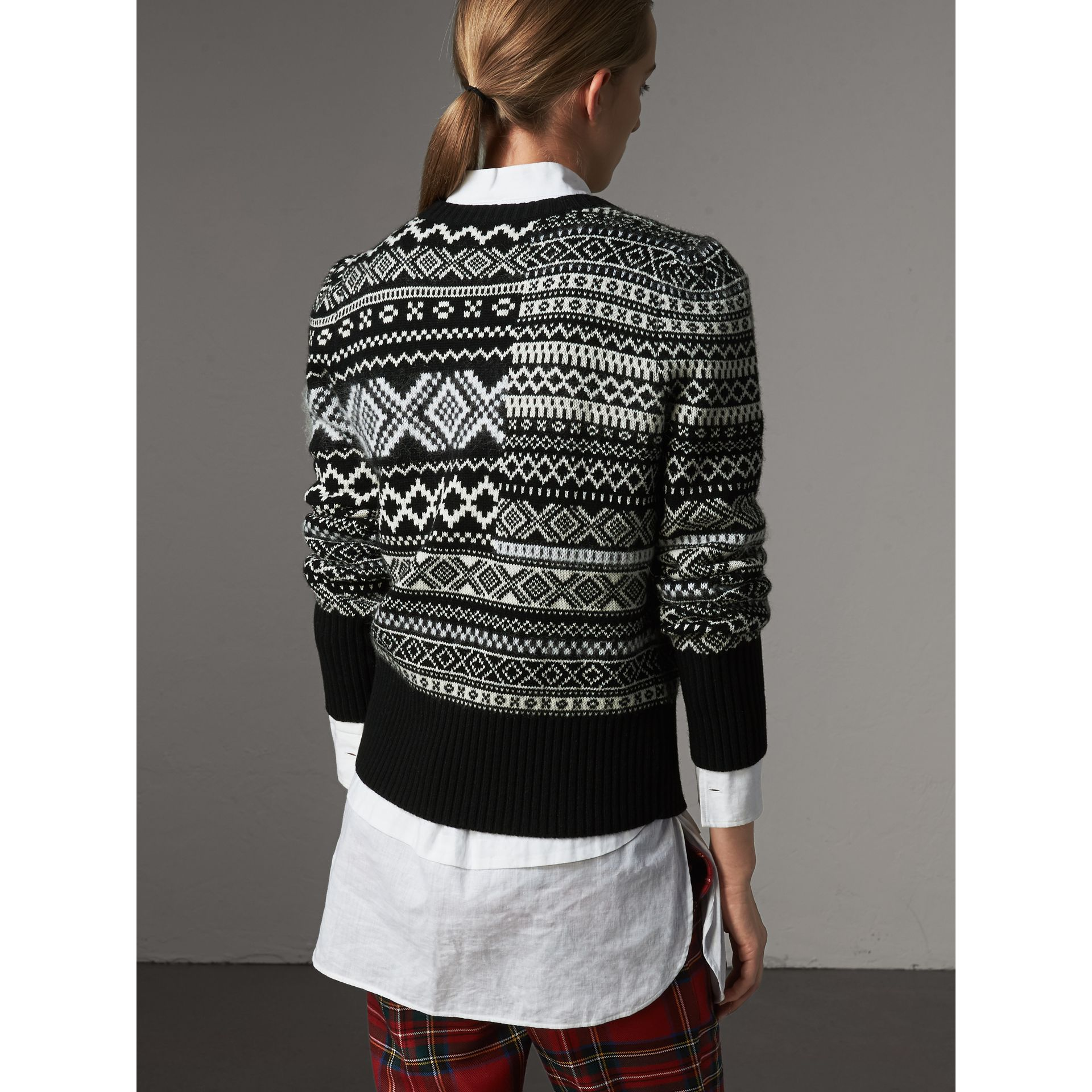 Fair Isle Cashmere Mohair Blend Patchwork Sweater in Black - Women | Burberry - gallery image 3