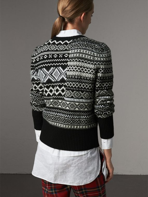 Fair Isle Cashmere Mohair Blend Patchwork Sweater in Black - Women | Burberry - cell image 2