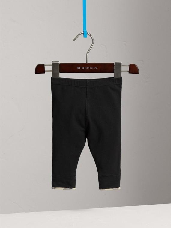 Legging en coton avec détails à motif check (Noir) - Fille | Burberry - cell image 2