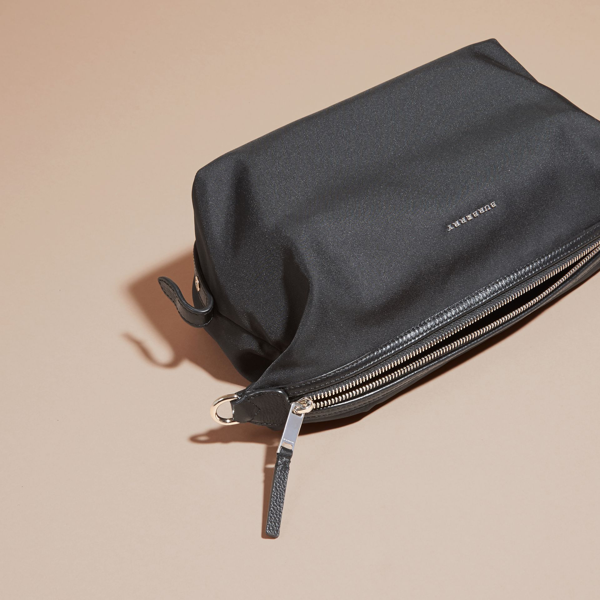 Black Leather Trim Washbag - gallery image 3